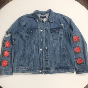 LA embroidered rose patches jacket